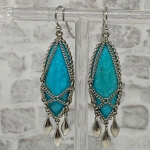 Sterling Chain Wrapped Turquoise Dangle Earrings